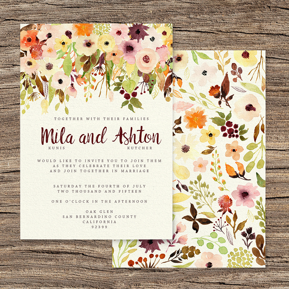 Autumn Flowers Invitation - watercolour flowers wedding stationery suite UK - Hawthorne and Ivory