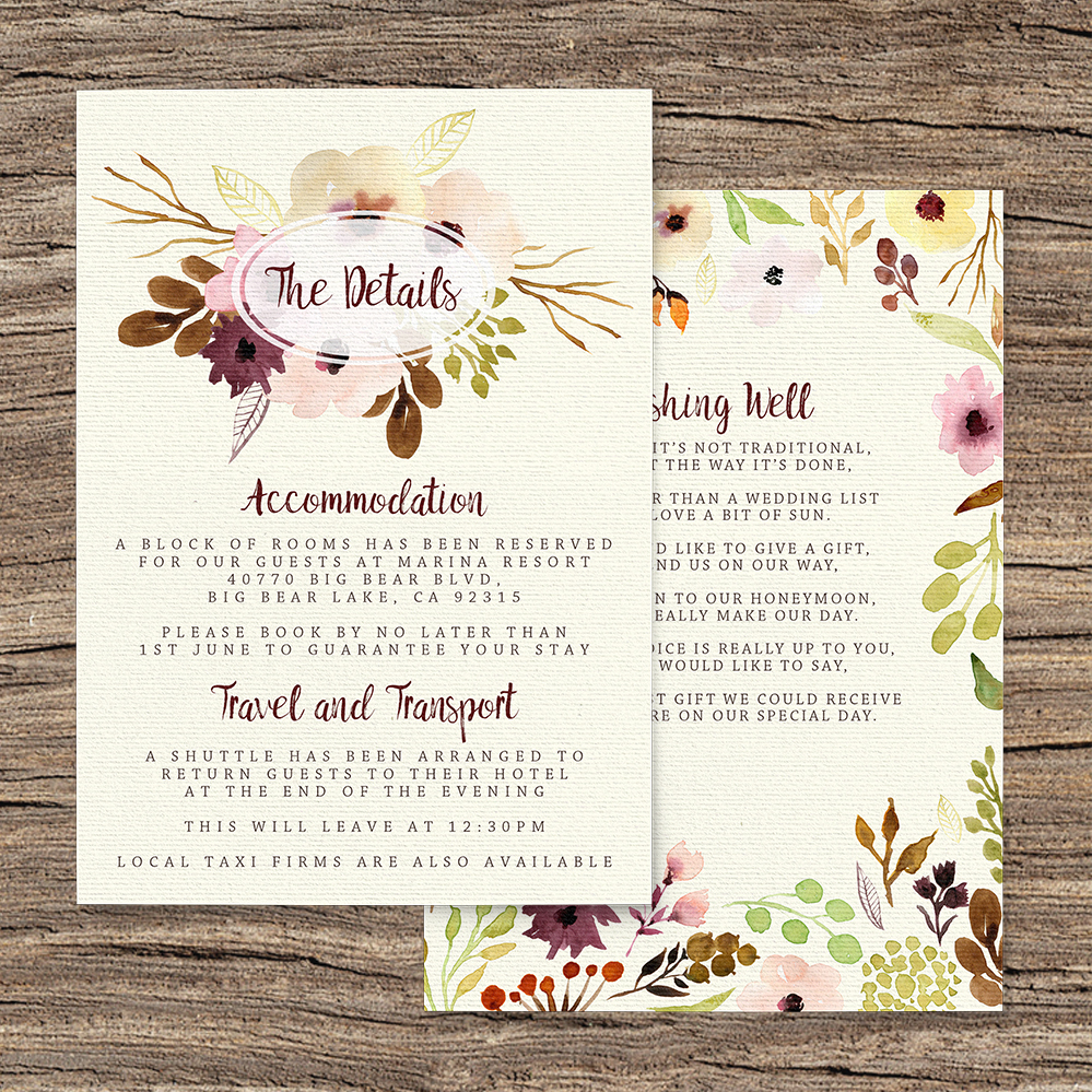 Autumn Flowers Details Card - watercolour flowers wedding stationery suite UK - Hawthorne and Ivory
