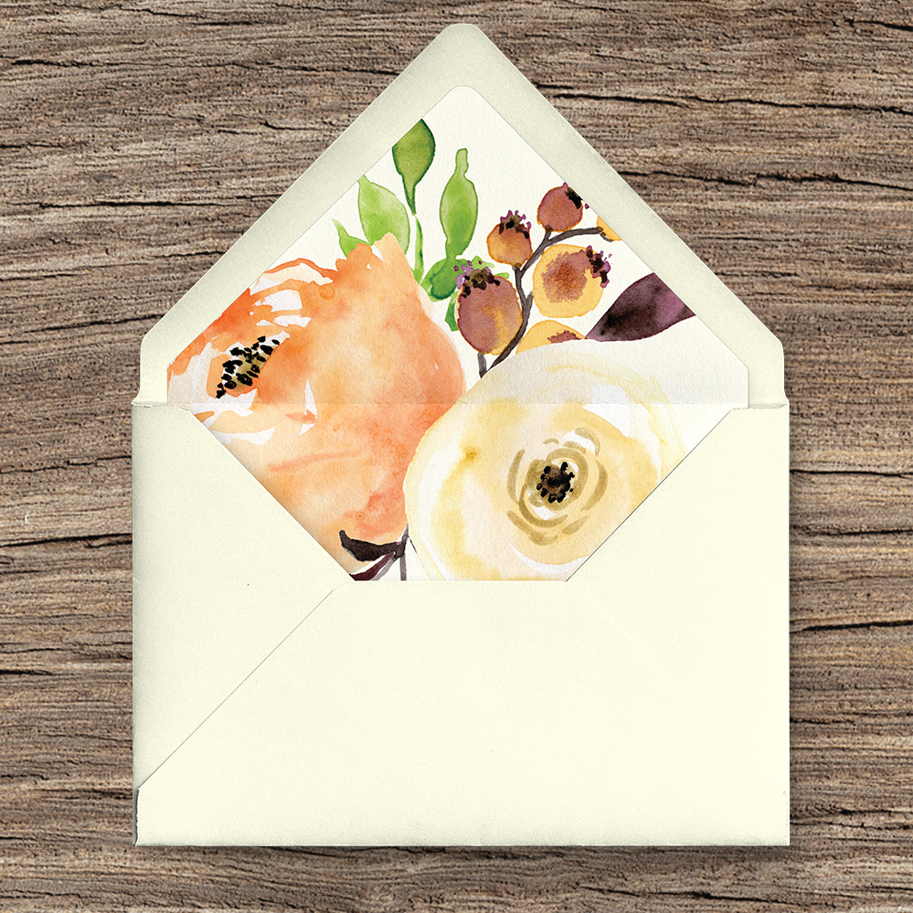 Autumn Flowers Envelope Liner - watercolour flowers wedding stationery suite UK - Hawthorne and Ivory