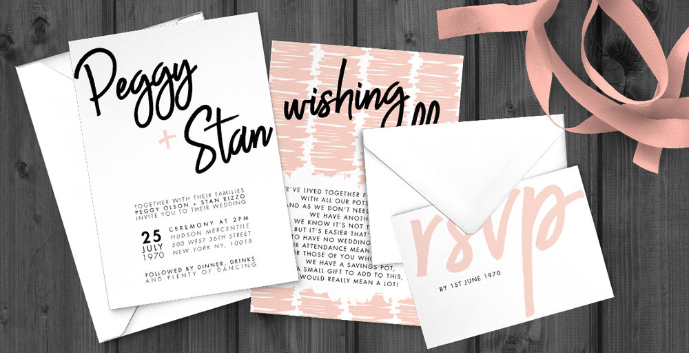 Black and Blush Invitation - bold modern graphic wedding stationery suite uk - Hawthorne and Ivory