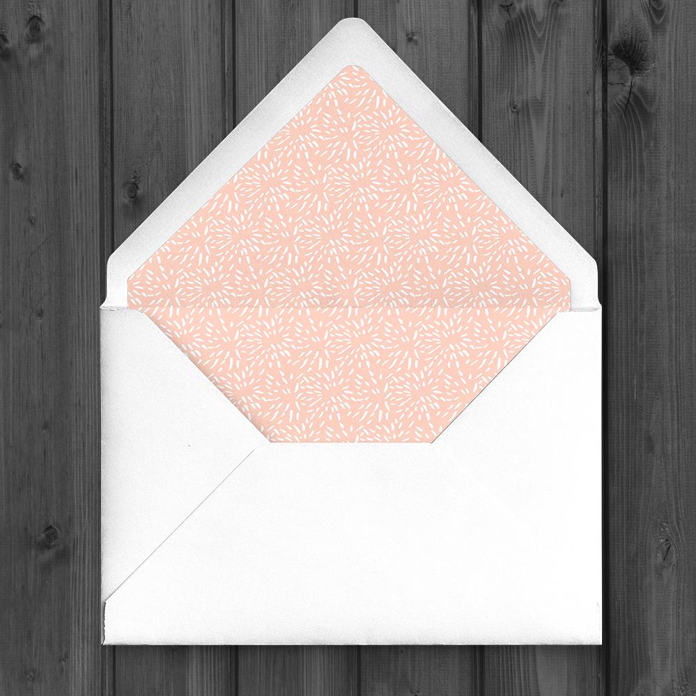 Black and Blush Envelope Liner - bold modern graphic wedding stationery suite uk - Hawthorne and Ivory