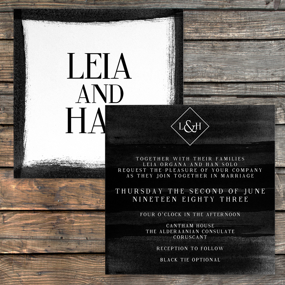 Black and White Invitation - bold watercolour brushstrokes wedding stationery suite uk - Hawthorne and Ivory