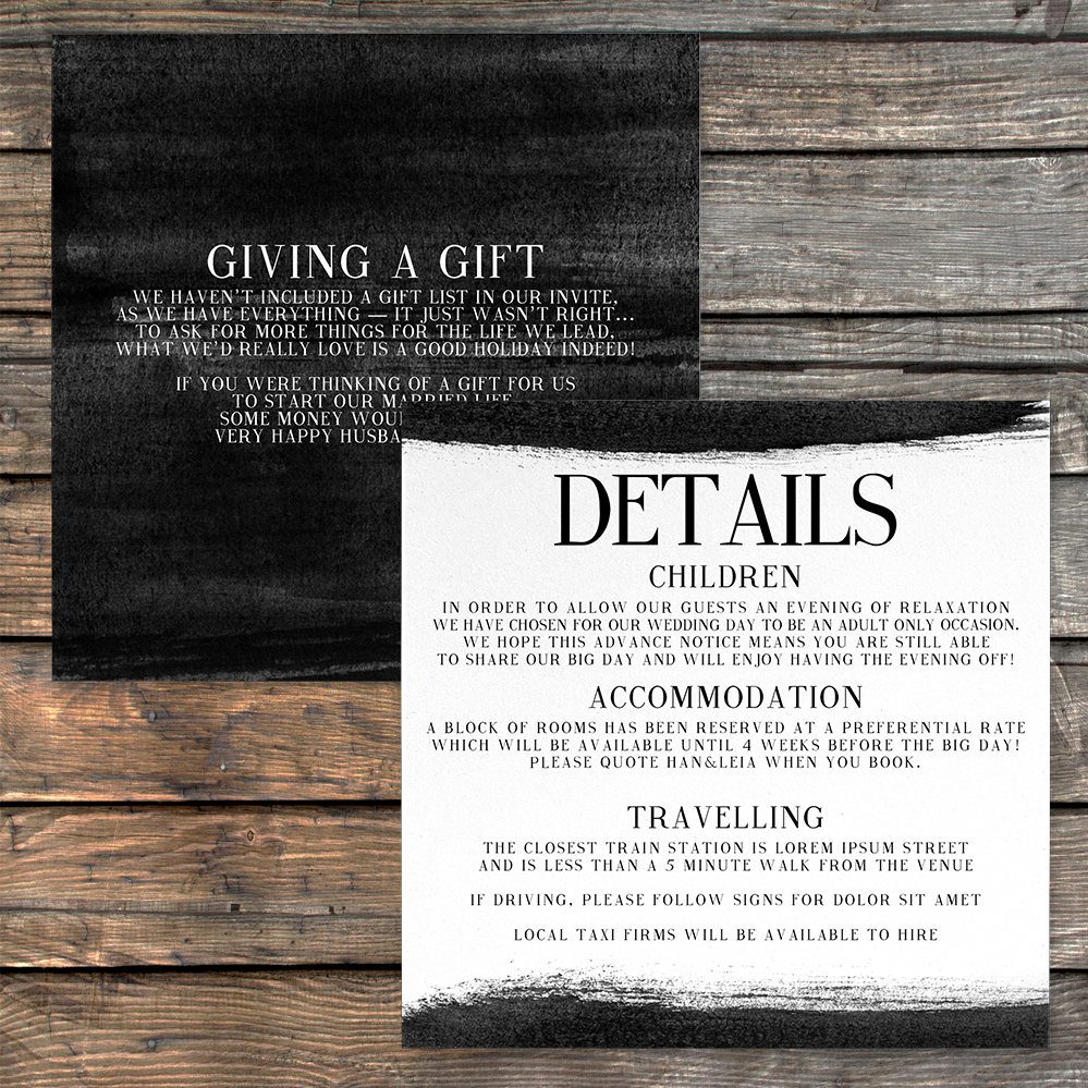 Black and White Details Card - bold watercolour brushstrokes wedding stationery suite uk - Hawthorne and Ivory
