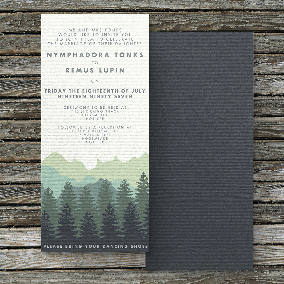 Blue Green Mountains Invitation - modern graphic outdoor wedding stationery suite uk - Hawthorne and Ivory
