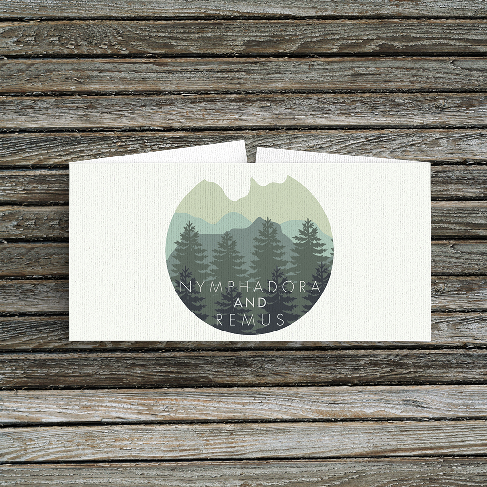 Blue Green Mountains Belly Band - modern graphic outdoor wedding stationery suite uk - Hawthorne and Ivory