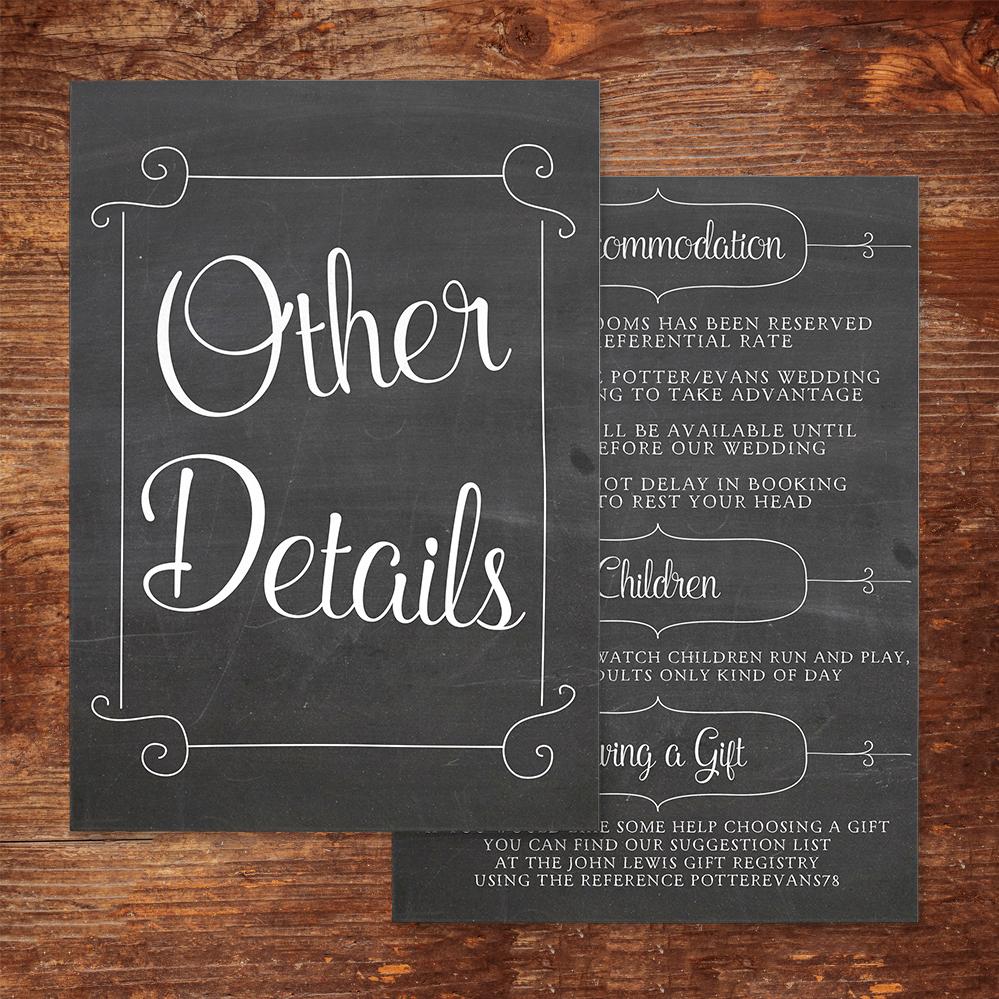 Chalkboard Details Card - rustic chalk slate grey wedding stationery suite uk - Hawthorne and Ivory