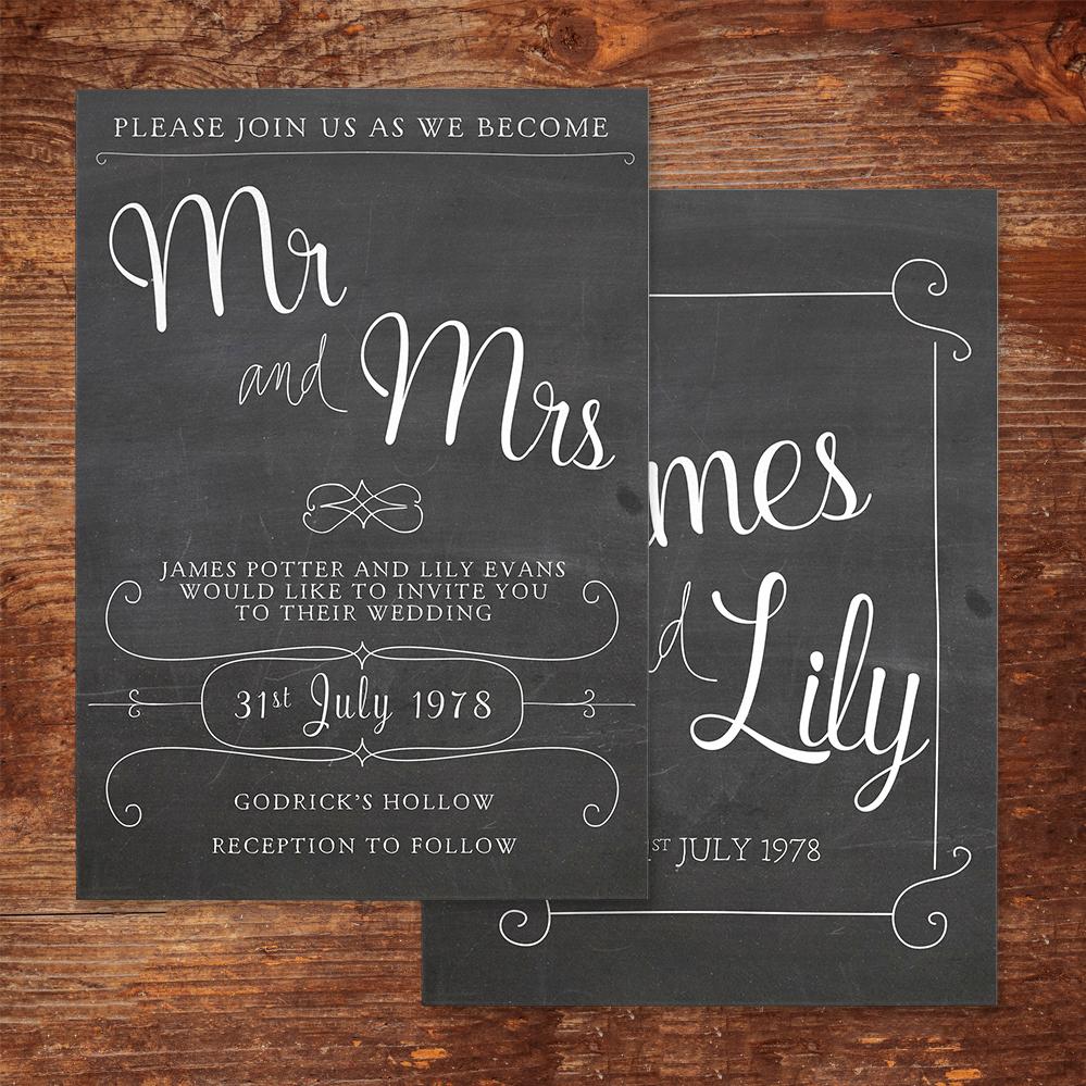 Chalkboard Invitation - rustic chalk slate grey wedding stationery suite uk - Hawthorne and Ivory