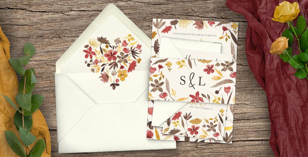cranberry and mustard wedding invitations