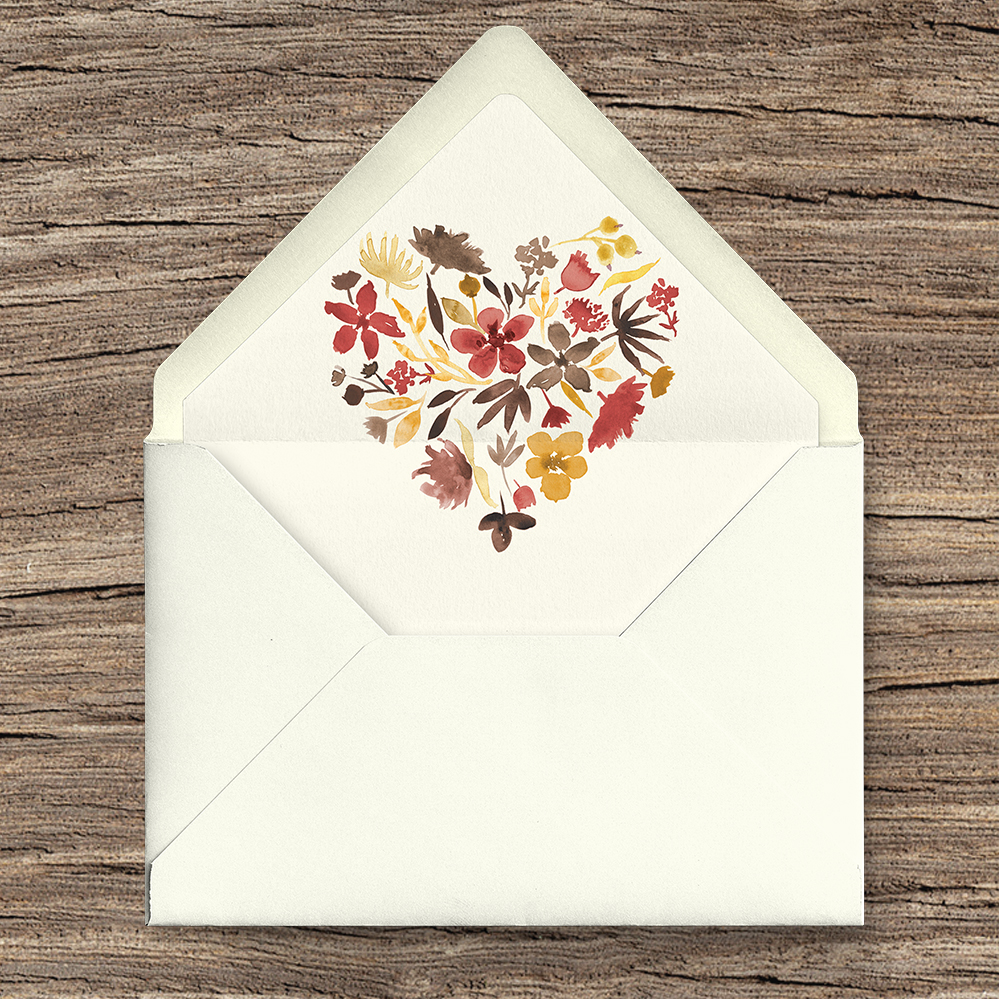 Cranberry and Mustard Envelope Liner - burgundy red yellow autumn watercolour flowers wedding stationery suite uk - Hawthorne and Ivory