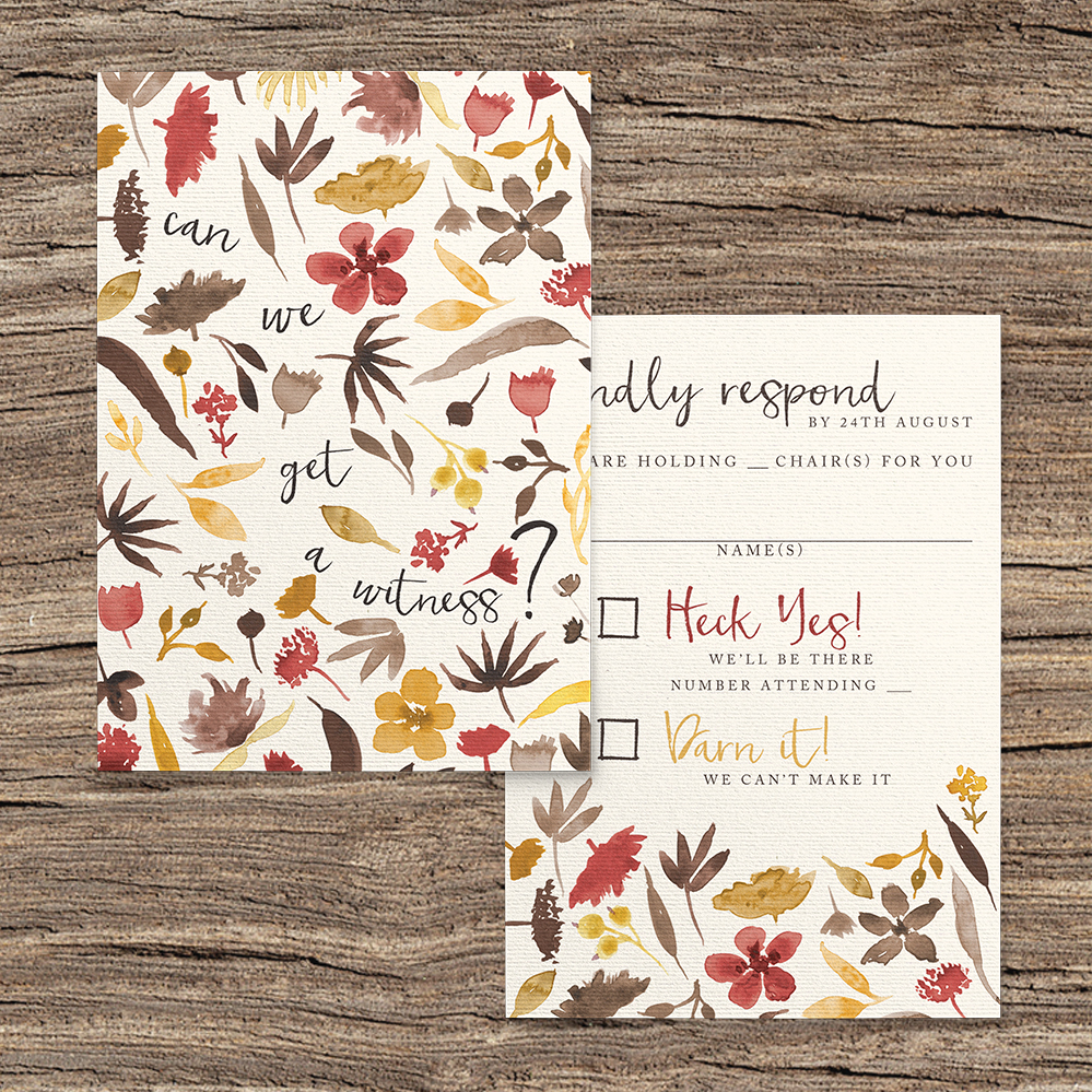 Cranberry and Mustard RSVP Card - burgundy red yellow autumn watercolour flowers wedding stationery suite uk - Hawthorne and Ivory