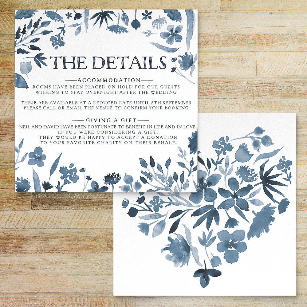 Dusky Blue Details Card - blue watercolour floral wedding stationery suite uk - Hawthorne and Ivory