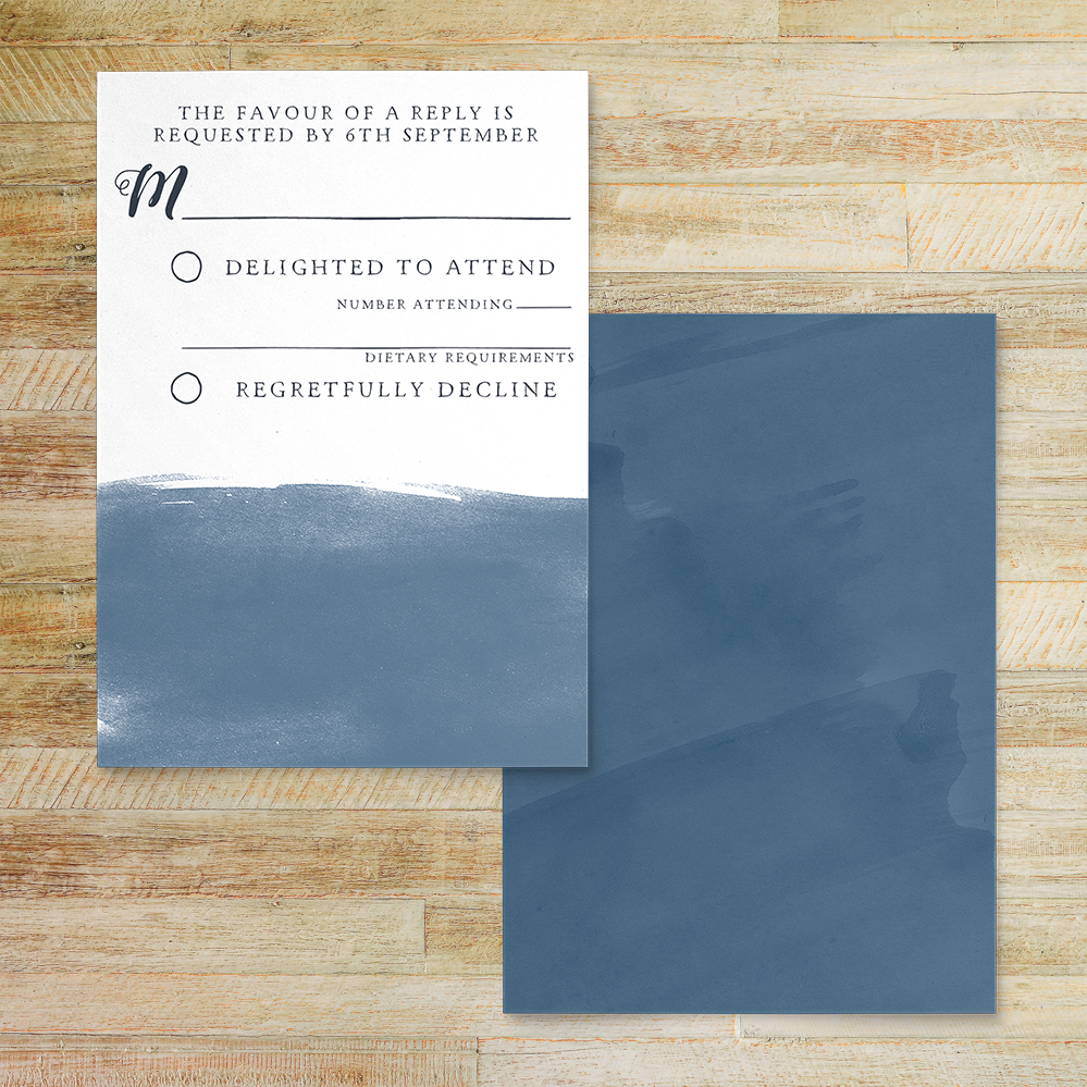 Dusky Blue RSVP Card - blue watercolour floral wedding stationery suite uk - Hawthorne and Ivory