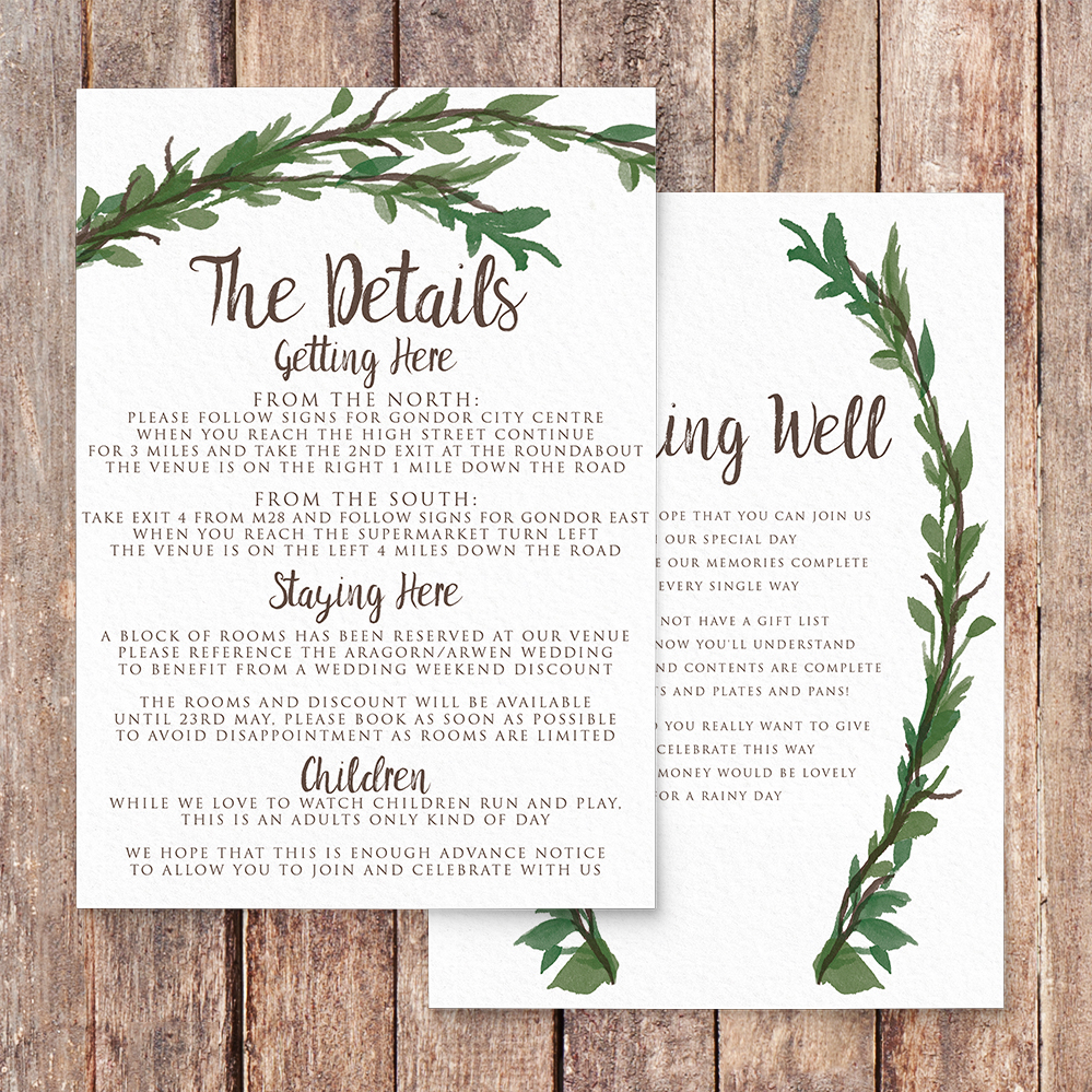 Leafy Botanical Details Card - leaf green painted garden greenery wedding stationery suite uk - Hawthorne and Ivory