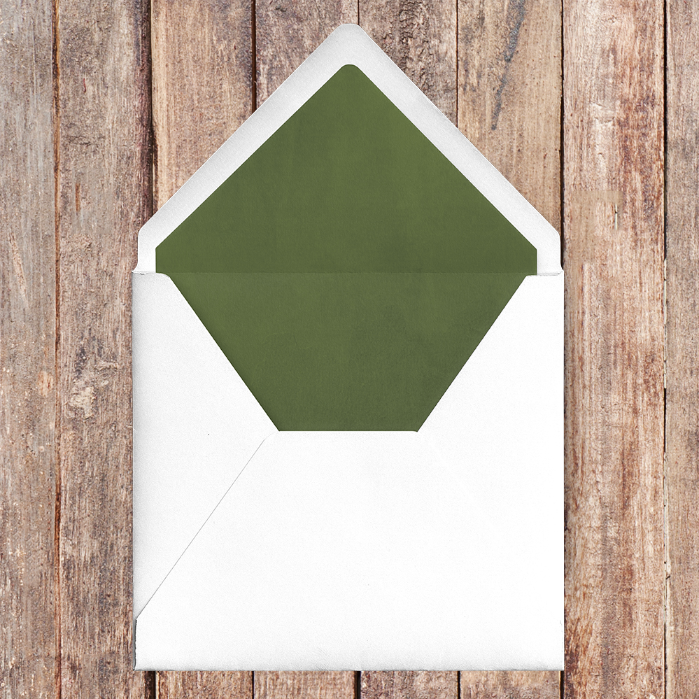 Leafy Botanical Envelope Liner - leaf green painted garden greenery wedding stationery suite uk - Hawthorne and Ivory