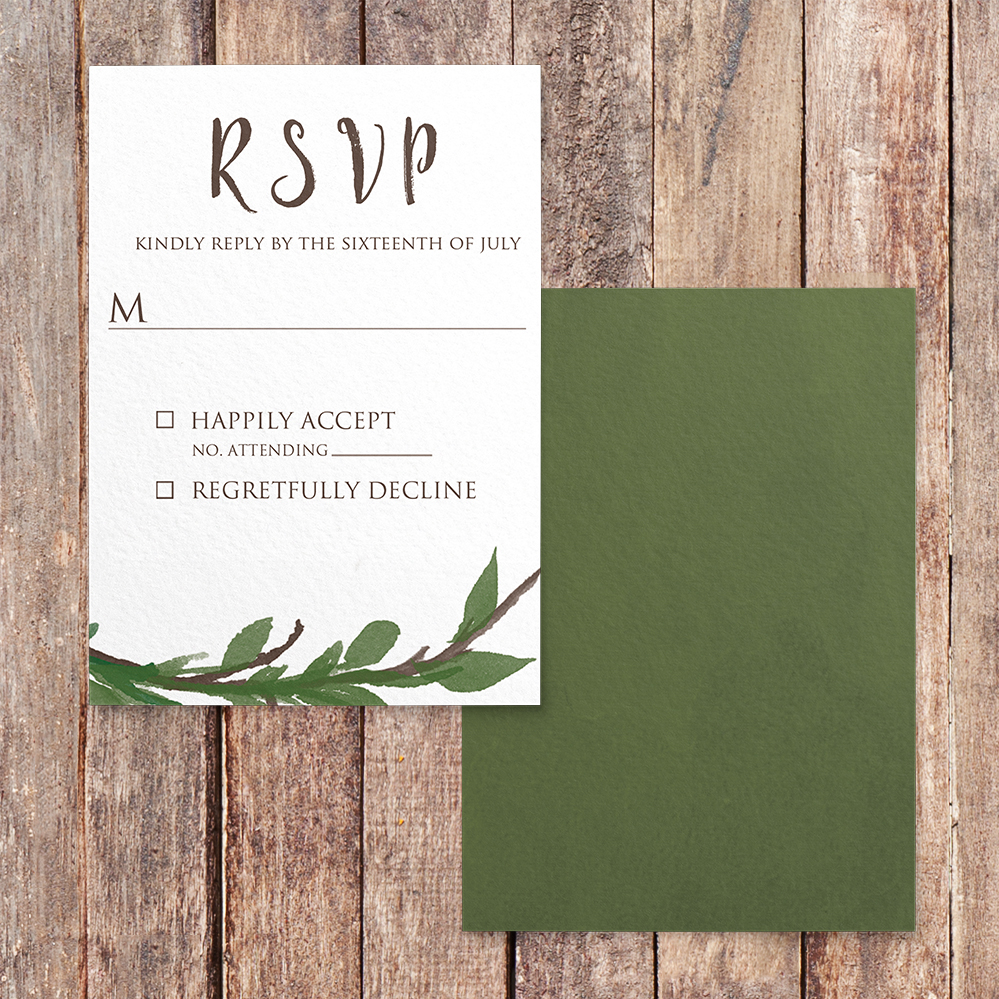 Leafy Botanical RSVP Card - leaf green painted garden greenery wedding stationery suite uk - Hawthorne and Ivory