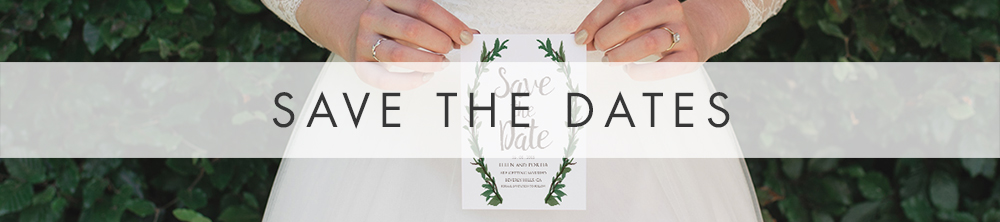 Leafy Botanical Save The Dates - leaf green painted garden greenery wedding stationery suite uk - Hawthorne and Ivory