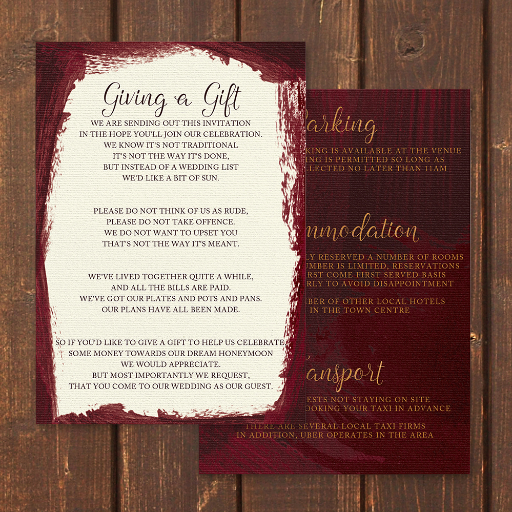 Marsala Wine Details Card - burgundy red watercolour gold copper wedding stationery suite uk - Hawthorne and Ivory