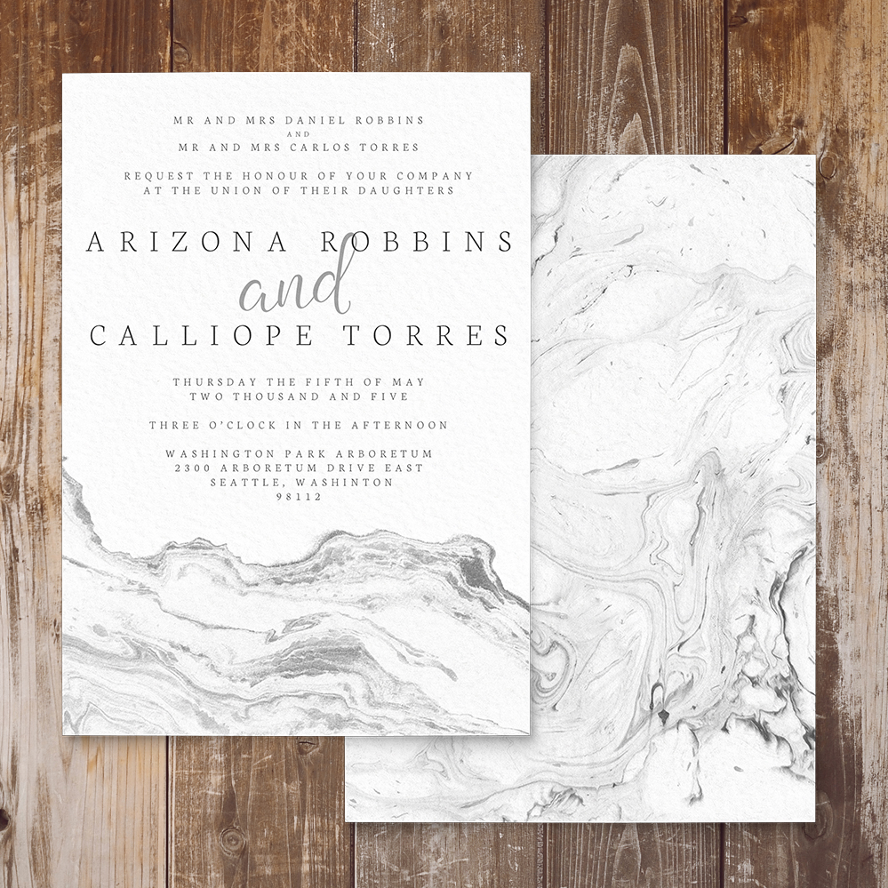 Marble Elegance Invitation - grey silver watercolour marble texture wedding stationery suite uk - Hawthorne and Ivory