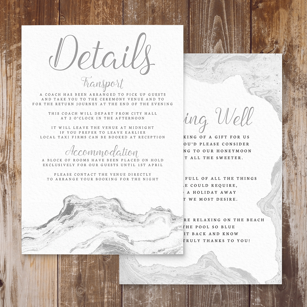 Marble Elegance Details Card - grey silver watercolour marble texture wedding stationery suite uk - Hawthorne and Ivory