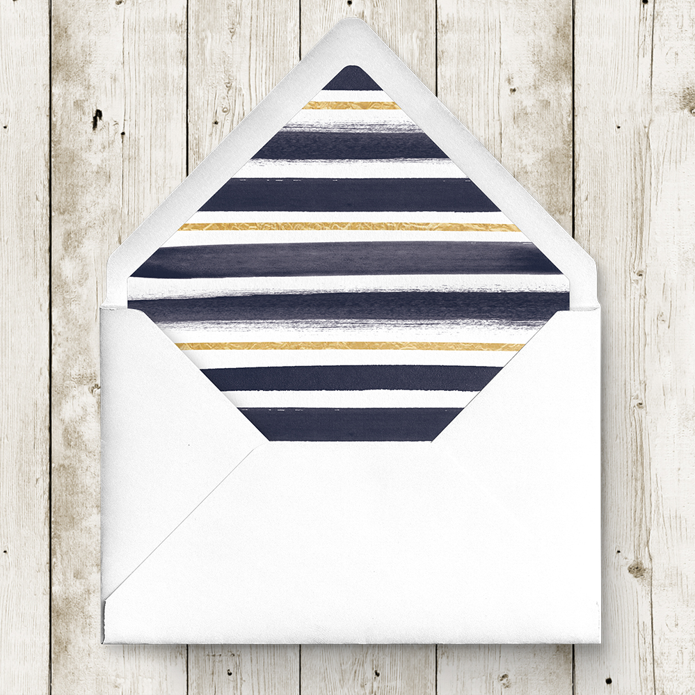 Navy and Gold Envelope Liner - nautical stripe blue gold watercolour wedding stationery suite uk - Hawthorne and Ivory