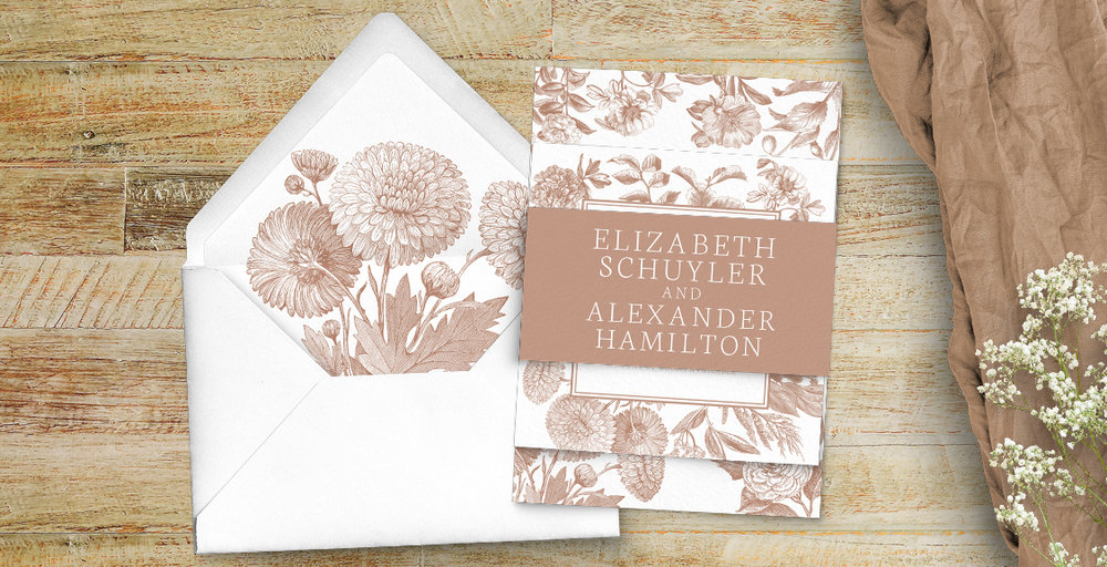 Nude Classic Invitation - vintage beige neutral floral wedding stationery suite uk - Hawthorne and Ivory