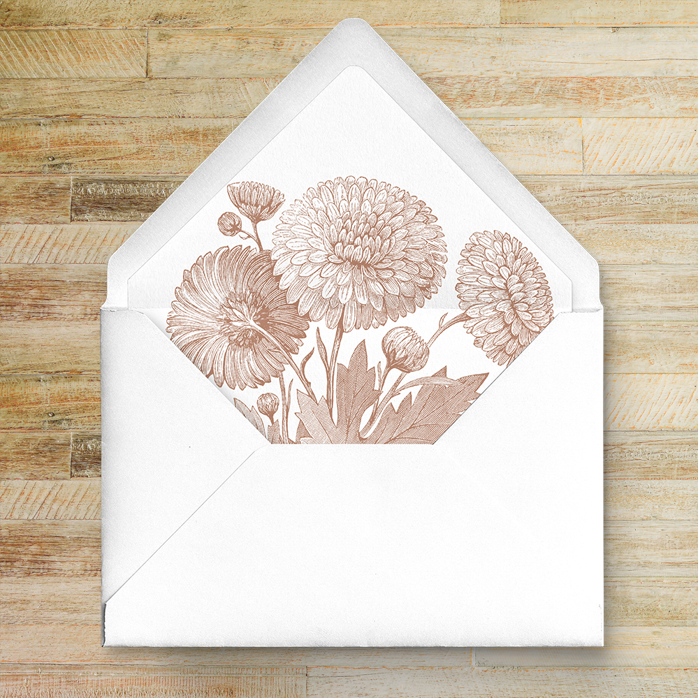 Nude Classic Envelope Liner - vintage beige neutral floral wedding stationery suite uk - Hawthorne and Ivory