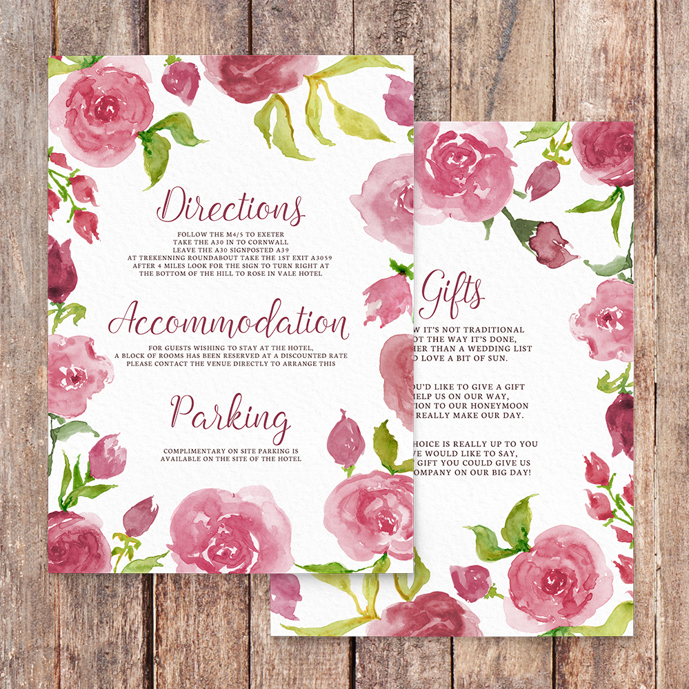 Pink Rose Details Card - watercolour floral wedding wedding stationery suite uk - Hawthorne and Ivory