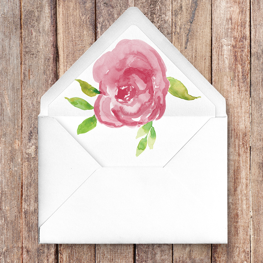 Pink Rose Envelope Liner - watercolour floral wedding wedding stationery suite uk - Hawthorne and Ivory