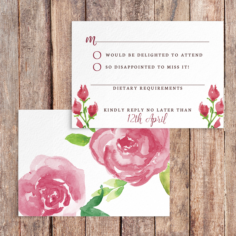 Pink Rose RSVP Card - watercolour floral wedding wedding stationery suite uk - Hawthorne and Ivory