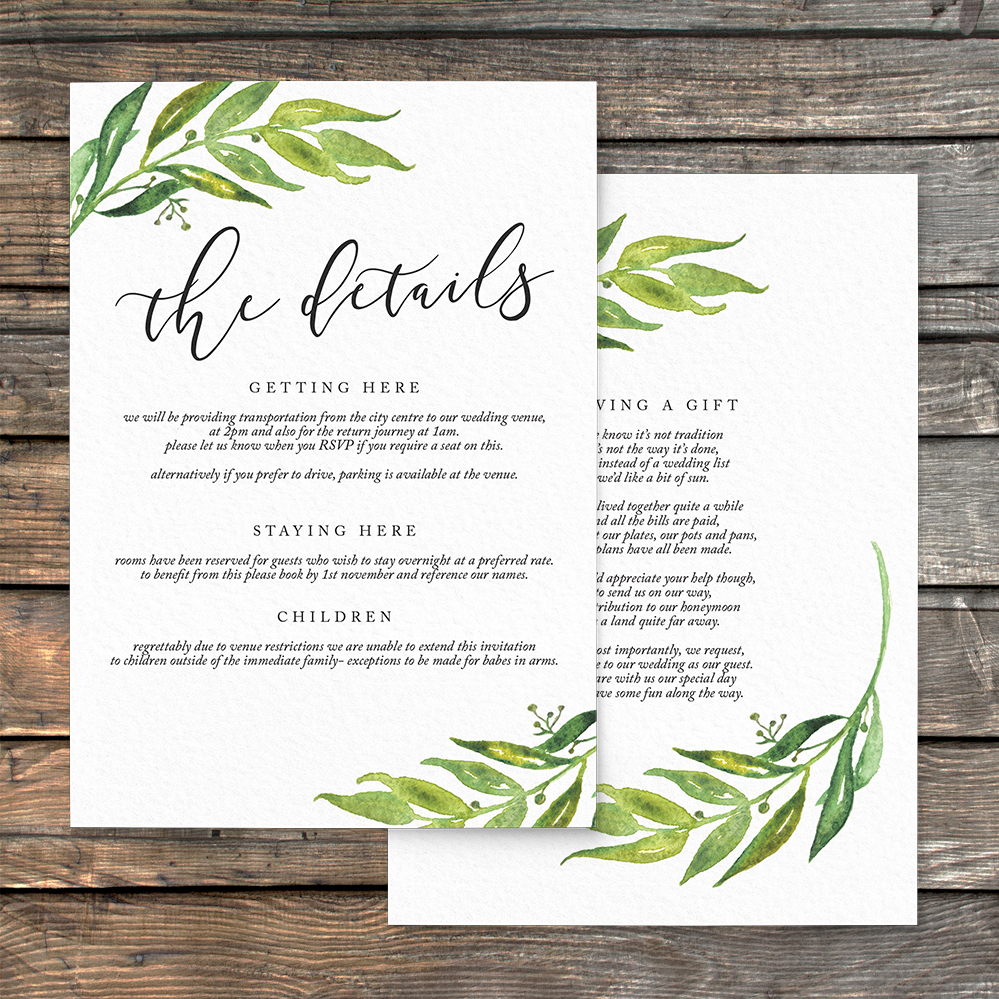 Olive Branch Details Card - greenery watercolour leaf greek wedding wedding stationery suite uk - Hawthorne and Ivory