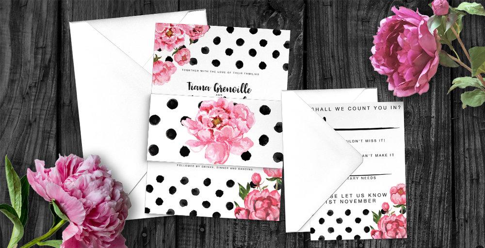 polka dot peony wedding invitations