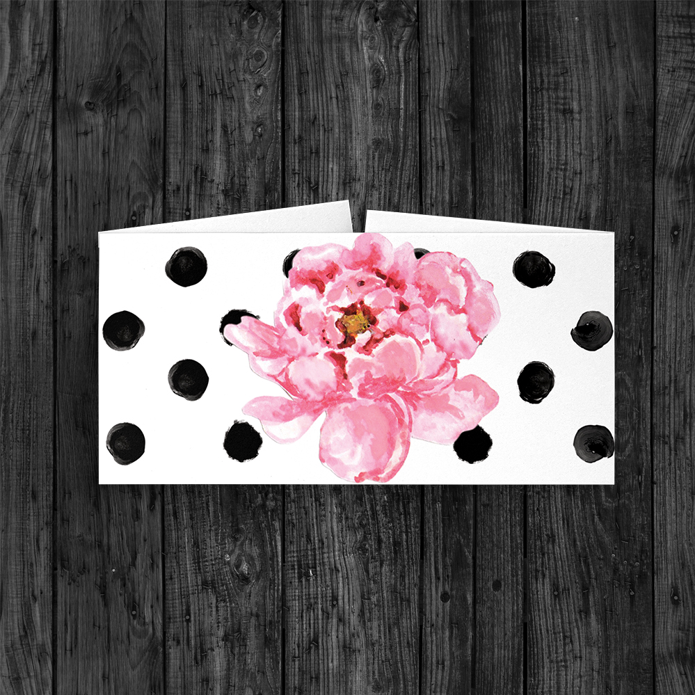 Polka Dot Peony Belly Band - watercolour pink floral wedding wedding stationery suite uk - Hawthorne and Ivory