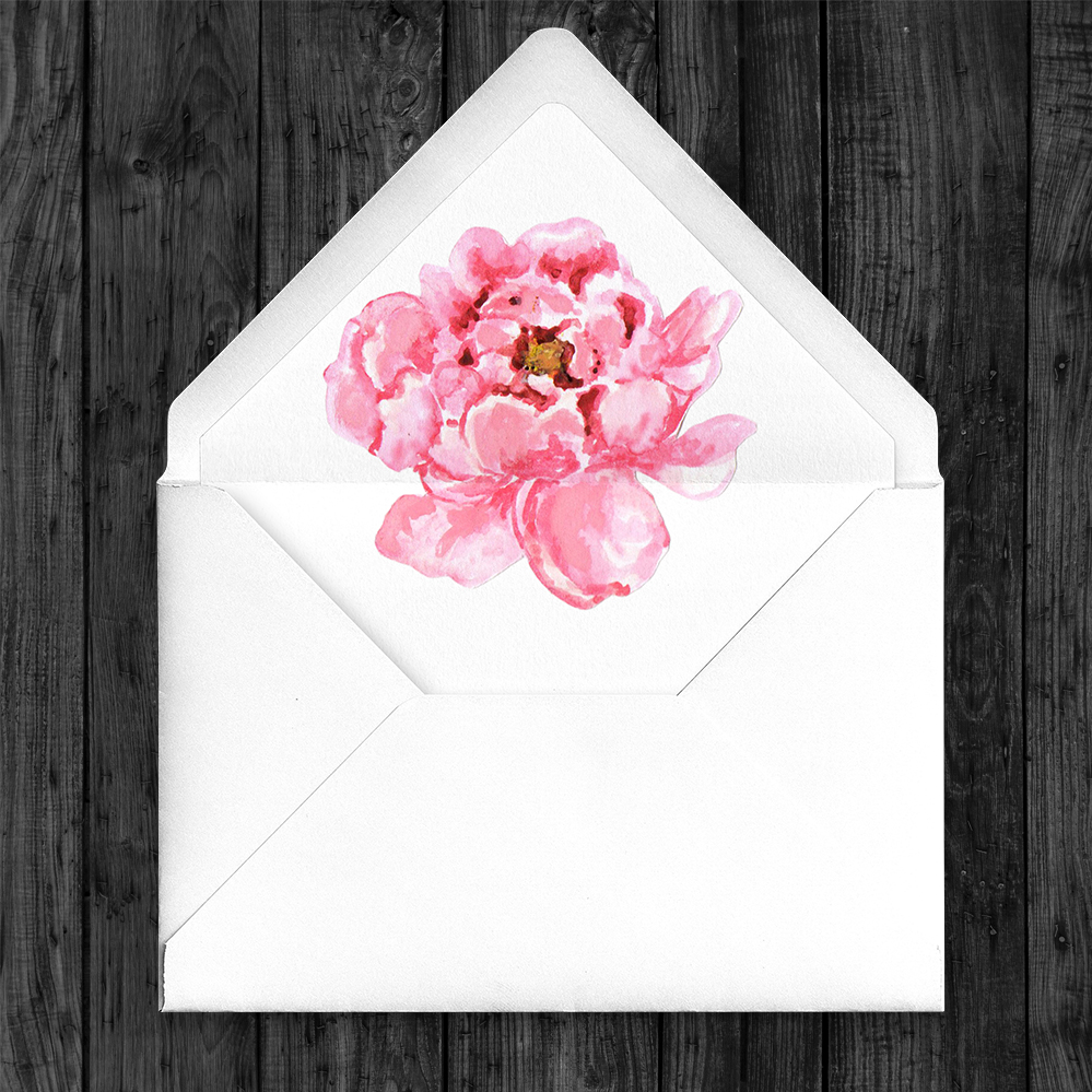 Polka Dot Peony Envelope Liner - watercolour pink floral wedding wedding stationery suite uk - Hawthorne and Ivory
