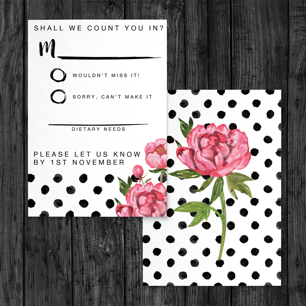 Polka Dot Peony RSVP Card - watercolour pink floral wedding wedding stationery suite uk - Hawthorne and Ivory