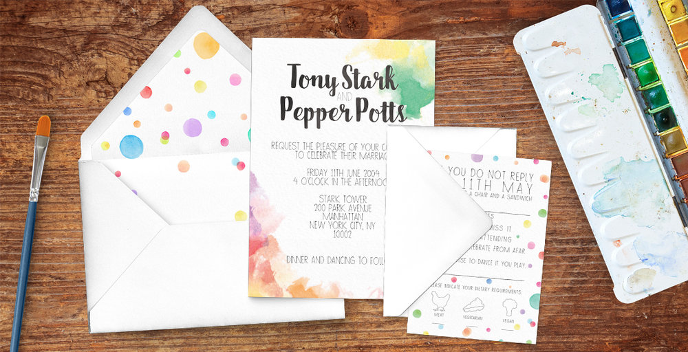 Rainbow Drops Invitation - colourful watercolour painted polka dot wedding wedding stationery suite uk - Hawthorne and Ivory