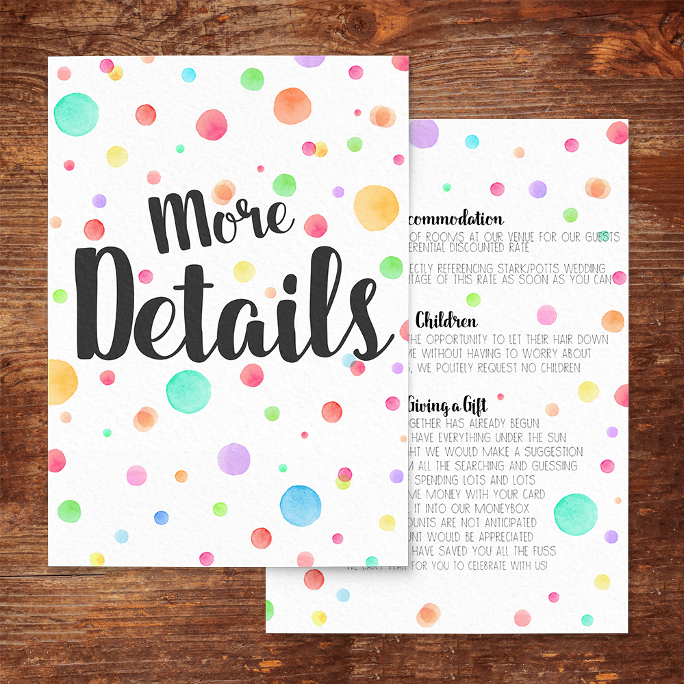 Rainbow Drops Details Card - colourful watercolour painted polka dot wedding wedding stationery suite uk - Hawthorne and Ivory