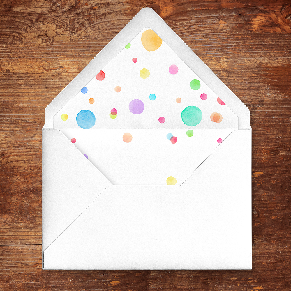 Rainbow Drops Envelope Liner - colourful watercolour painted polka dot wedding wedding stationery suite uk - Hawthorne and Ivory