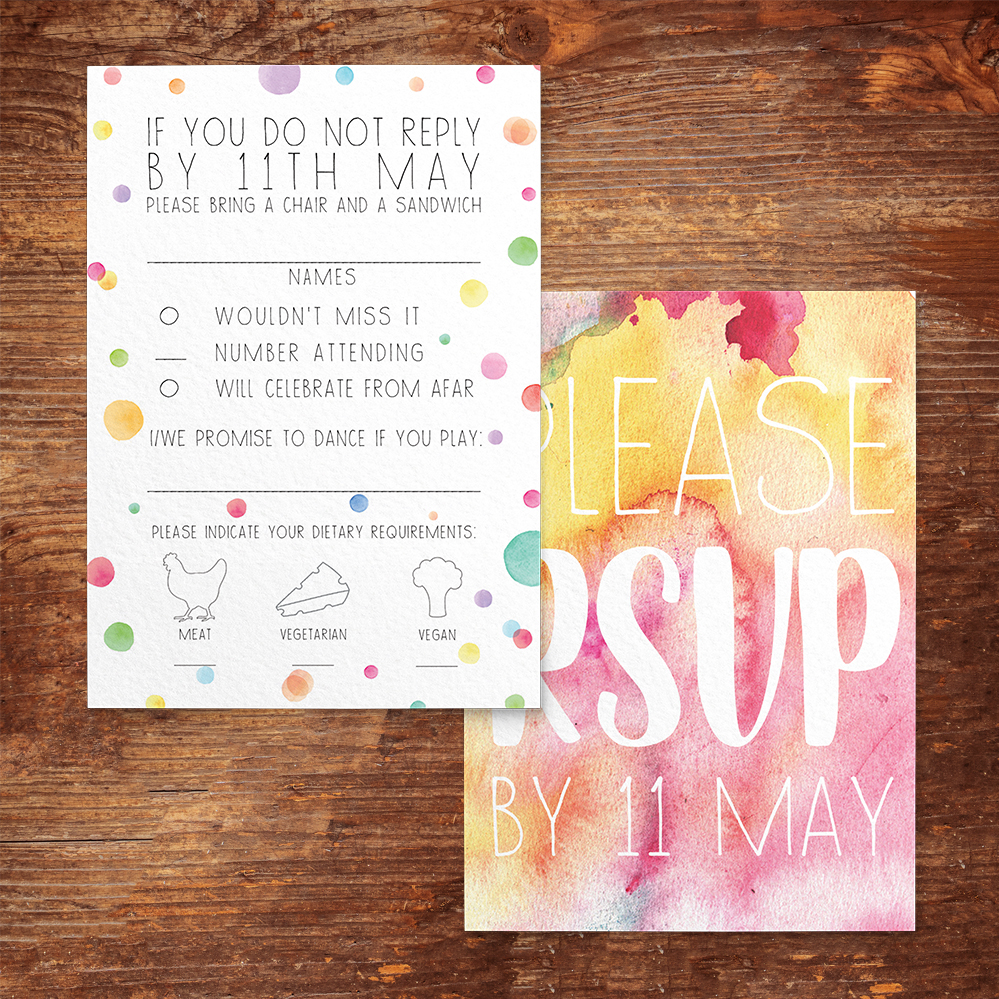 Rainbow Drops RSVP Card - colourful watercolour painted polka dot wedding wedding stationery suite uk - Hawthorne and Ivory