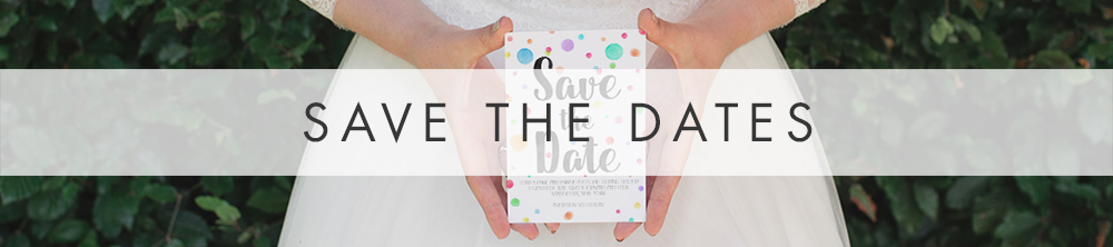 Rainbow Drops Save The Dates - colourful watercolour painted polka dot wedding wedding stationery suite uk - Hawthorne and Ivory