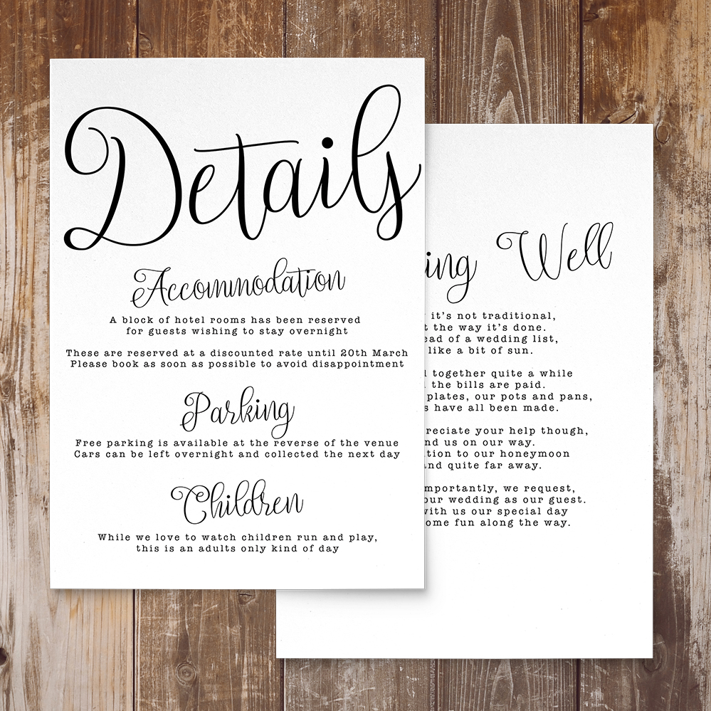 Simple Kraft Details Card - rustic simple botanical floral wedding wedding stationery suite uk - Hawthorne and Ivory
