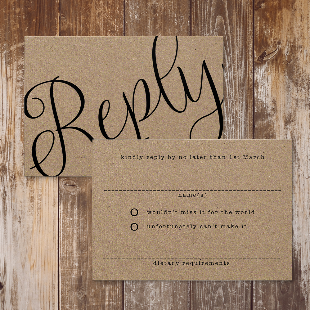 Simple Kraft RSVP Card - rustic simple botanical floral wedding wedding stationery suite uk - Hawthorne and Ivory