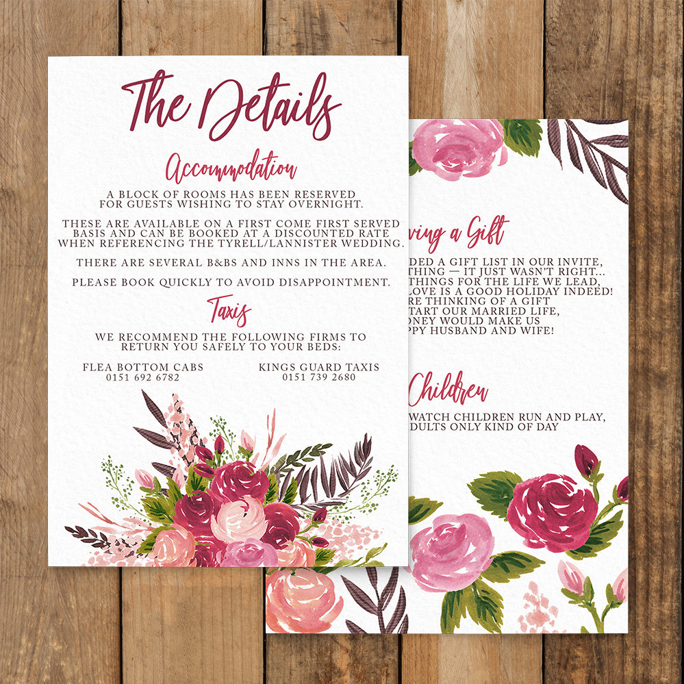 Rustic Rose Details Card - red pink roses watercolour wedding wedding stationery suite uk - Hawthorne and Ivory