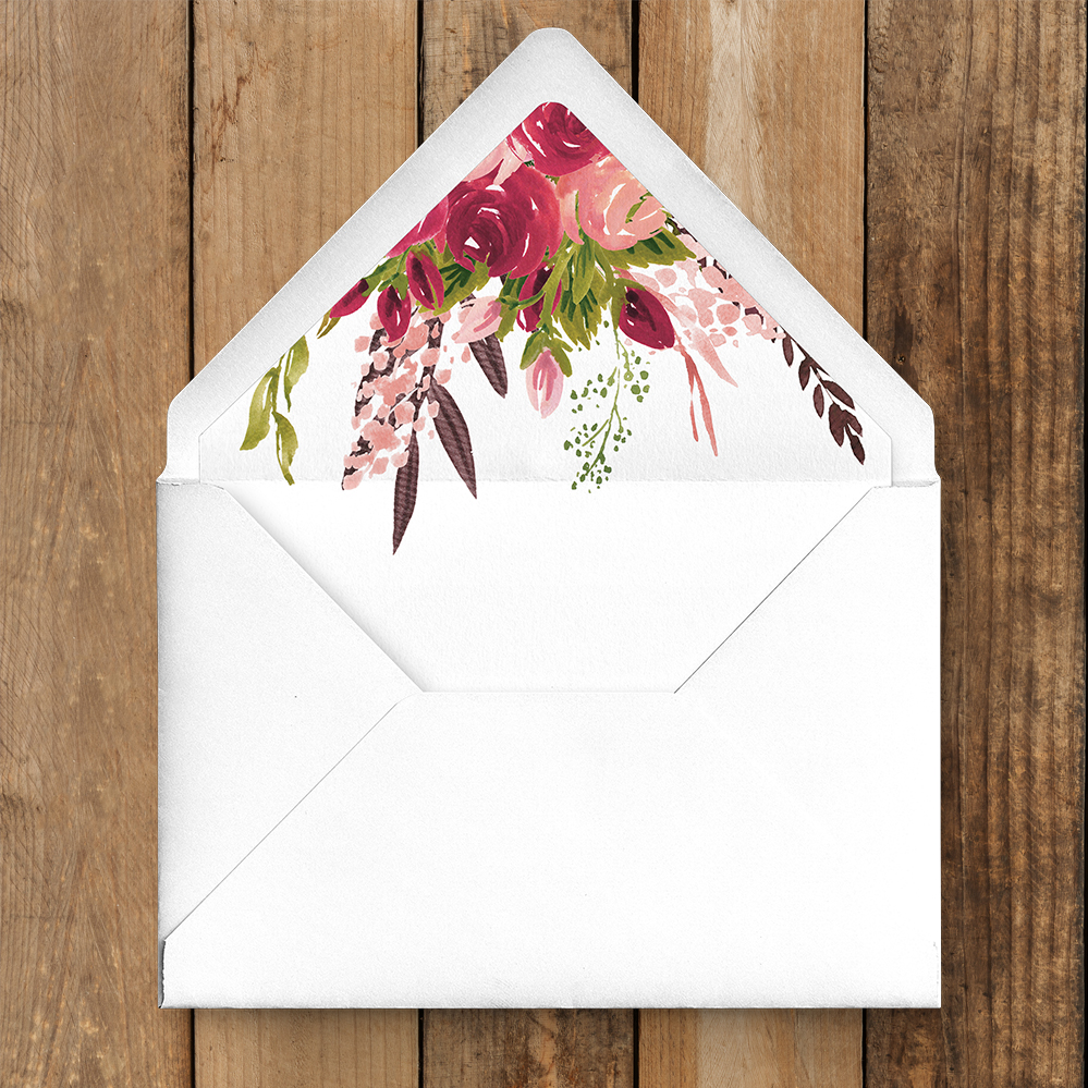 Rustic Rose Envelope Liner - red pink roses watercolour wedding wedding stationery suite uk - Hawthorne and Ivory