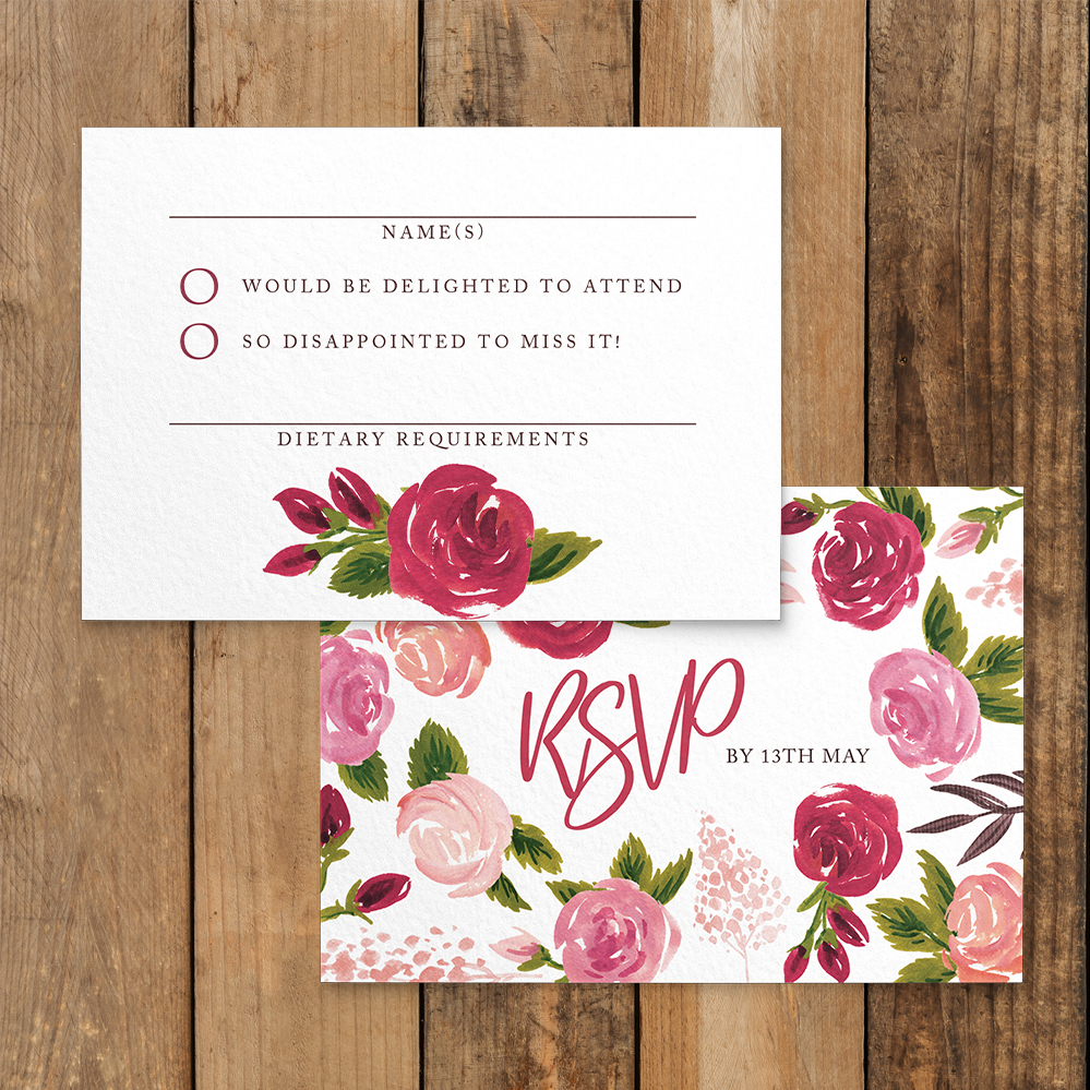 Rustic Rose RSVP Card - red pink roses watercolour wedding wedding stationery suite uk - Hawthorne and Ivory