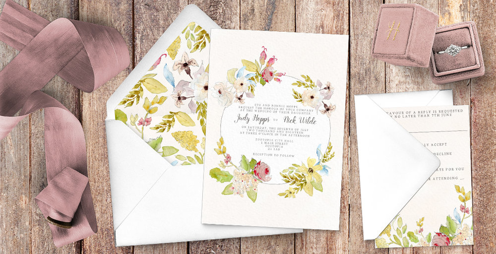 shabby chic vintage floral wedding invitation