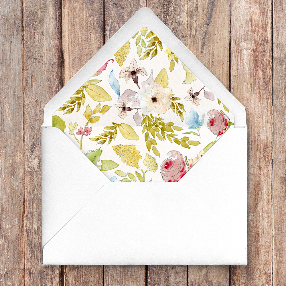 Shabby Chic Floral Envelope Liner - watercolour flowers rose wedding wedding stationery suite uk - Hawthorne and Ivory