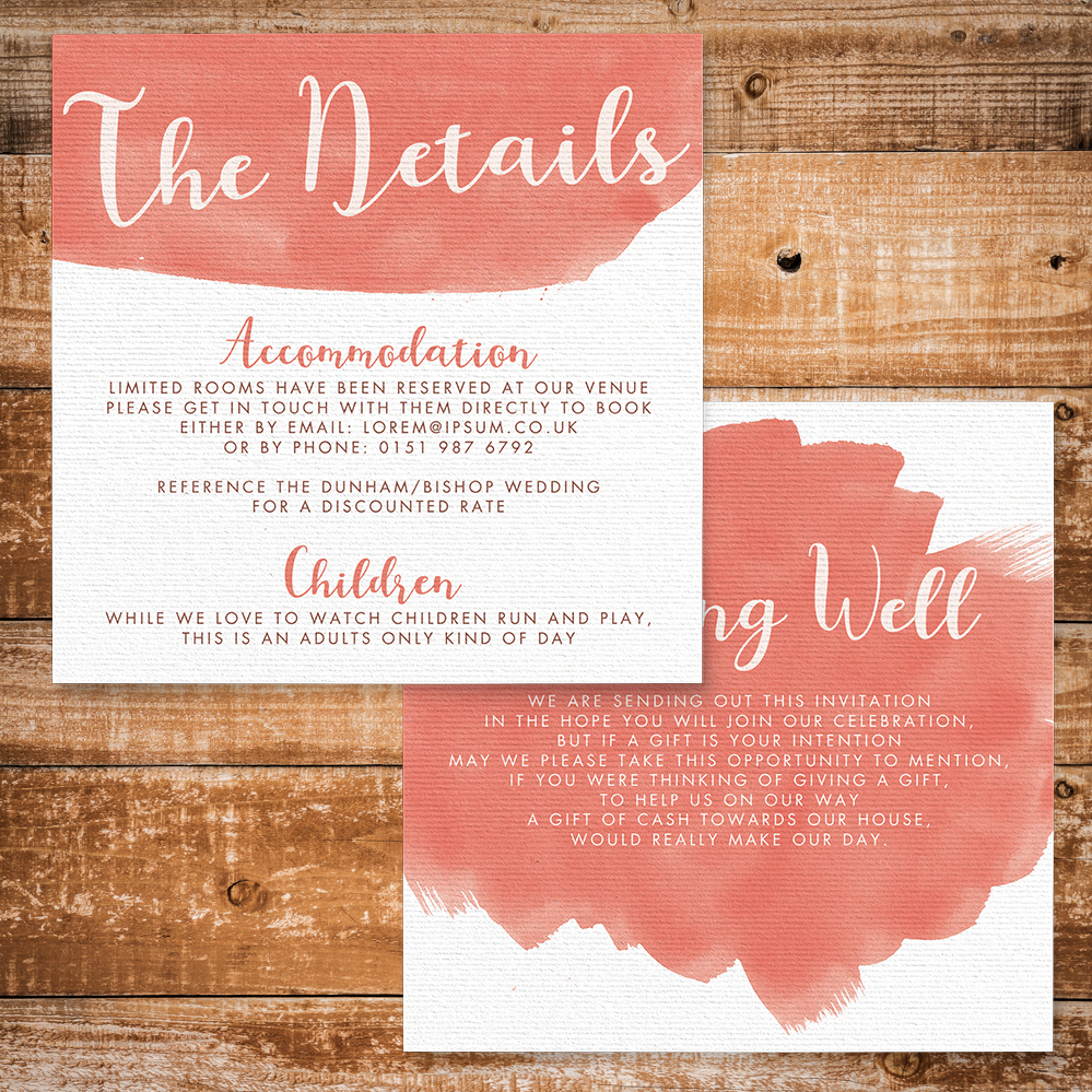 Soft Peach Details Card - watercolour painted coral simple wedding wedding stationery suite uk - Hawthorne and Ivory