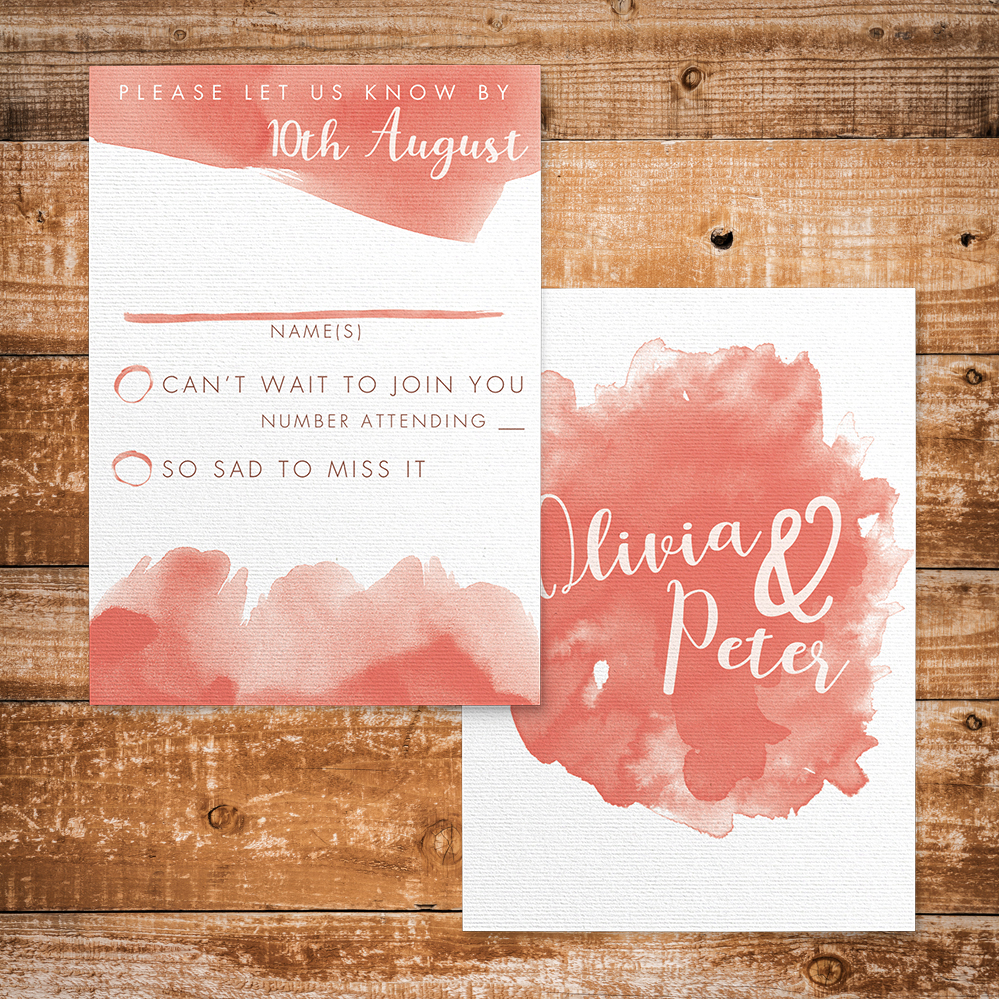 Soft Peach RSVP Card - watercolour painted coral simple wedding wedding stationery suite uk - Hawthorne and Ivory