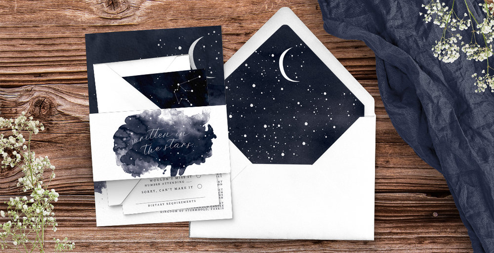 Starry Night Invitation - watercolour celestial stars constellation moon navy wedding wedding stationery suite uk - Hawthorne and Ivory