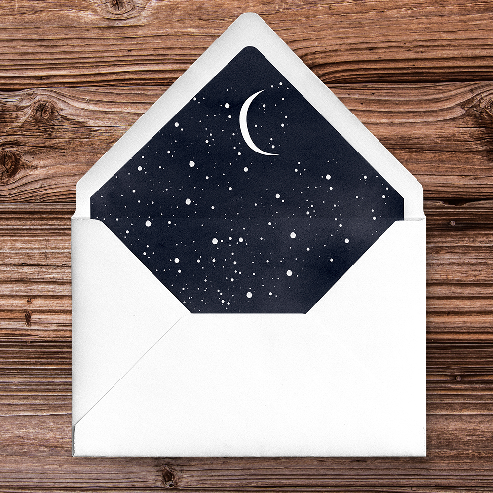 Starry Night Envelope Liner - watercolour celestial stars constellation moon navy wedding wedding stationery suite uk - Hawthorne and Ivory